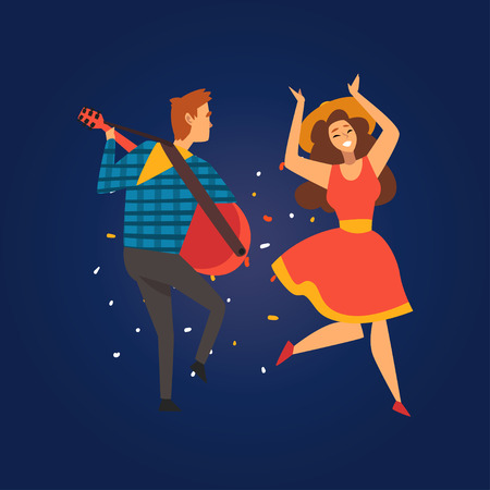 Festa Junina, Traditional Brazil June Festival, Happy People Dancing at Folklore Party, Young Man Playing Guitar Vector Illustration in Flat Style Ilustração