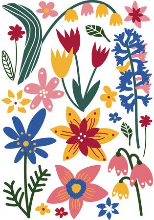 Colorful Wild or Garden Blooming Flowers, Seasonal Decor Vector Illustration on White Background. Ilustracja