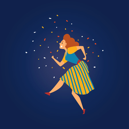 Festa Junina Traditional Brazil June Festival, Beautiful Girl Dancing at Night Folklore Party Vector Illustration in Flat Style Çizim