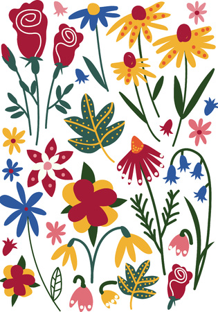 Colorful Wild or Garden Blooming Flowers, Leaves, Herbaceous Flowering Plants, Floral Seamless Pattern, Seasonal Decor Vector Illustration on White Background. Banco de Imagens - 124573855
