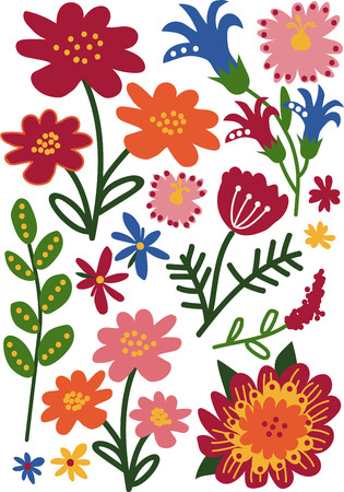 Colorful Wild and Garden Blooming Flowers and Herbs, Floral Seamless Pattern, Seasonal Decor Vector Illustration on White Background.