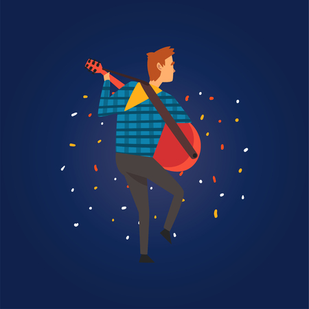 Festa Junina, Traditional Brazil June Festival, Man Playing Guitar at Night Folklore Party Vector Illustration in Flat Style Ilustração