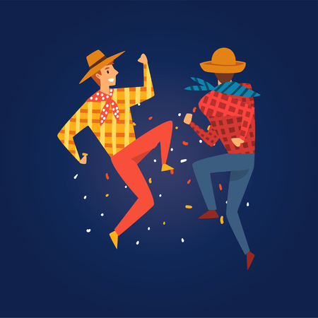 Festa Junina, Traditional Brazil June Festival, Young Men Dancing at Night Folklore Party Vector Illustration in Flat Style