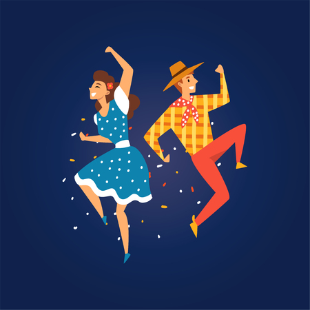 Festa Junina, Traditional Brazil June Festival, Happy Young Man and Woman Dancing at Night Folklore Party Vector Illustration in Flat Style