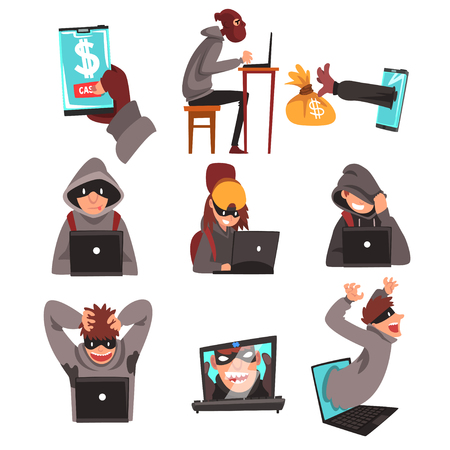 Hackers in Disguise Stealing Information and Money Using Laptop Set, Internet Crime, Computer Security Technology Cartoon Vector Illustration on White Background. Ilustração