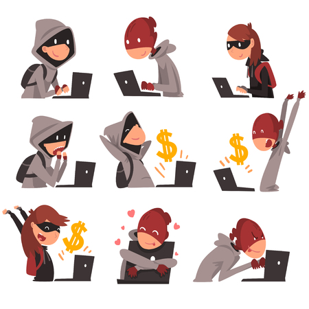 Collection of Hackers in Masks Stealing Information and Money Using Laptop, Internet Crime, Computer Security Technology Vector Illustration on White Background.