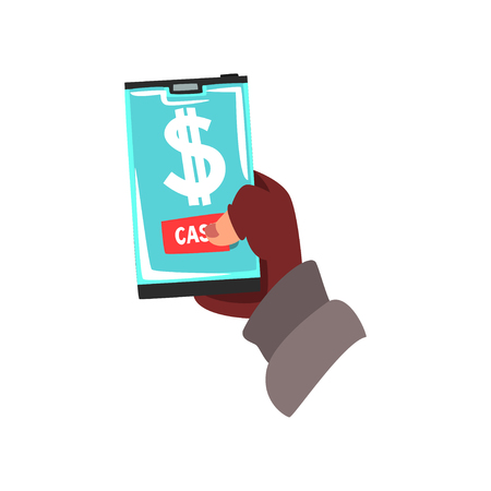 Cyber Thief, Hacker Stealing Money with Smartphone, Computer Security Technology Cartoon Vector Illustration