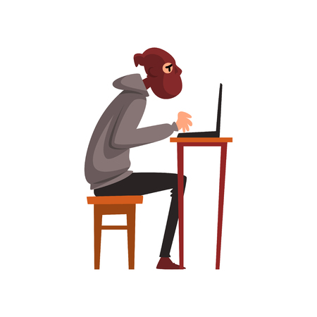 Hacker in Disguise Sitting at Desktop and Working on Laptop, Internet Crime, Computer Security Technology Cartoon Vector Illustration