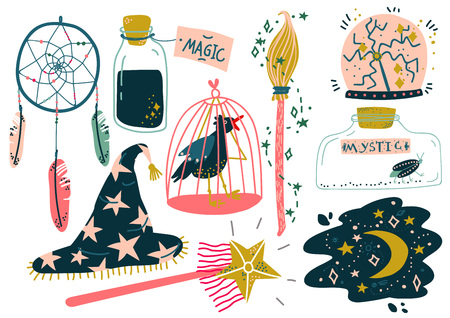 Magic Objects Set, Witchcraft Attributes, Magic Show Equipment Vector Illustration on White Background. Иллюстрация