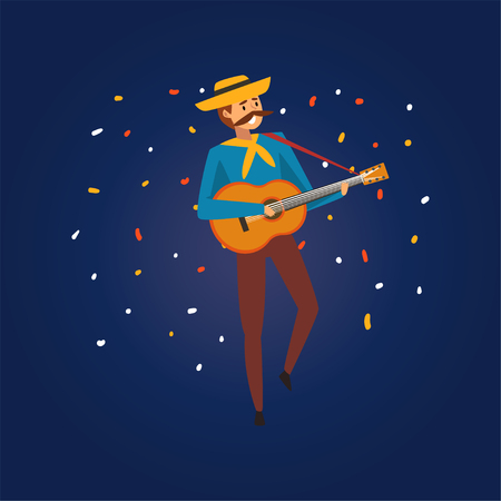 Festa Junina Traditional Brazil June Festival, Young Man in Cowboy Hat Playing Guitar at Night Folklore Party Vector Illustration in Flat Style