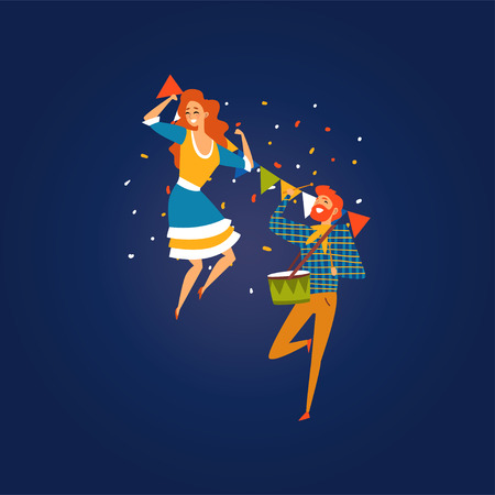 Festa Junina, Traditional Brazil June Festival, Happy People Dancing at Night Folklore Party, Man Playing Drum Vector Illustration Ilustração
