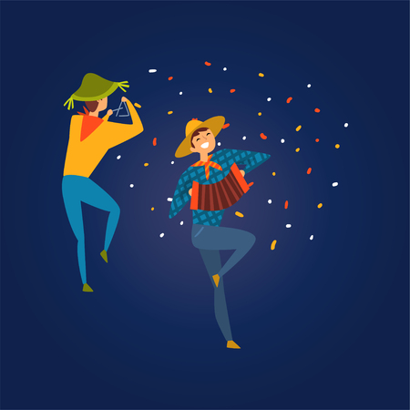 Festa Junina, Traditional Brazil June Festival, Men Dancing and Playing Accordion and Triangle at Folklore Party Vector Illustration