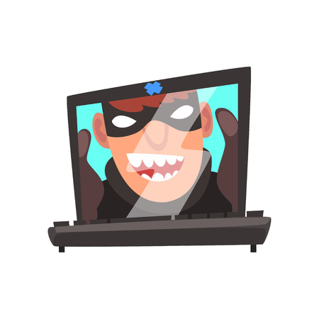 Hacker Face on Laptop Screen, Internet Crime, Computer Security Technology Cartoon Vector Illustration