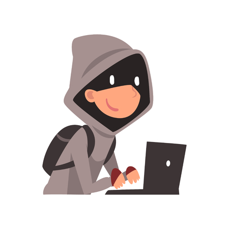 Hacker in Hoodie and Black Mask Stealing Information Using Laptop, Internet Crime, Computer Security Technology Cartoon Vector Illustration