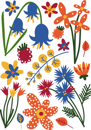 Beautiful Colorful Wild or Garden Blooming Flowers, Herbaceous Flowering Plants, Floral Seamless Pattern, Seasonal Decor Vector Illustration on White Background. Banco de Imagens - 124573866