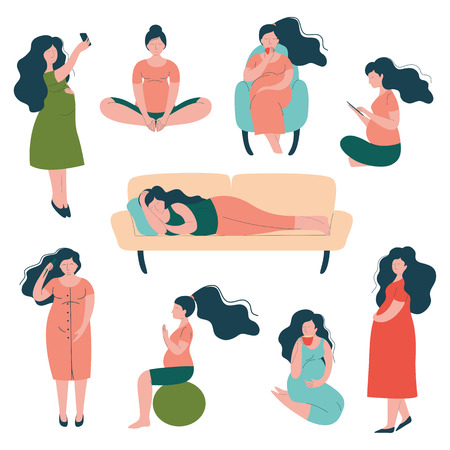 Pregnant Woman Lifestyle Set, Happy Brunette Mother in Pregnancy Doing Exercises, Sitting, Sleeping Vector Illustration
