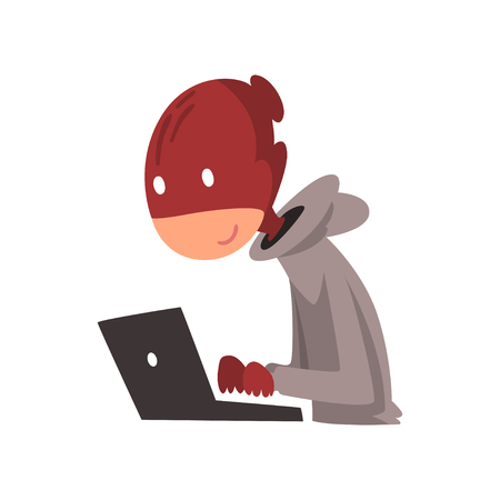 Hacker in Disguise Working on Laptop, Internet Crime, Computer Security Technology Cartoon Vector Illustration Illustration