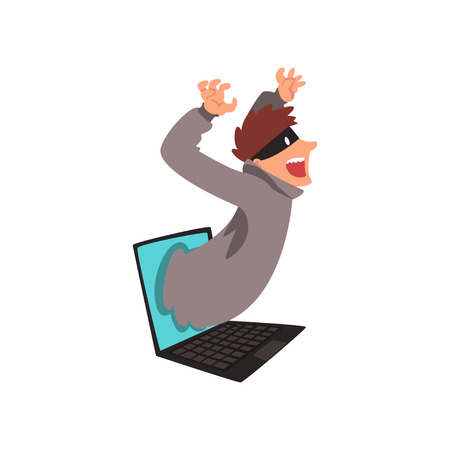 Hacker in Mask Getting Out of Laptop Screen, Internet Crime, Computer Security Technology Cartoon Vector Illustration