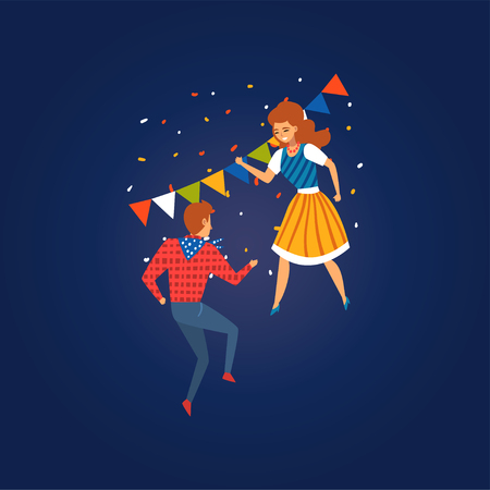Festa Junina Traditional Brazil June Festival, Happy Young Man and Woman Dancing at Folklore Party Vector Illustration in Flat Style