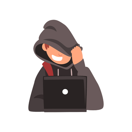 Hacker Hiding his Face Under Hood Trying to Cyber Attack Using Laptop, Internet Crime, Computer Security Technology Cartoon Vector Illustration