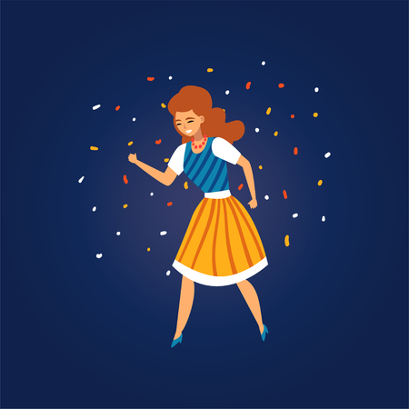 Festa Junina, Traditional Brazil June Festival, Girl Dancing at Night Folklore Party Vector Illustration Çizim