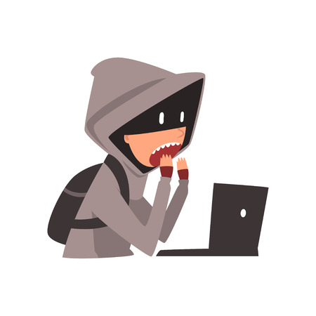 Hacker in Hoodie and Mask Trying to Cyber Attack Using Laptop, Internet Crime, Computer Security Technology Cartoon Vector Illustration Illustration