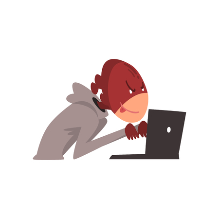 Hacker in Mask Trying Hack System Using Laptop, Internet Crime, Computer Security Technology Cartoon Vector Illustration