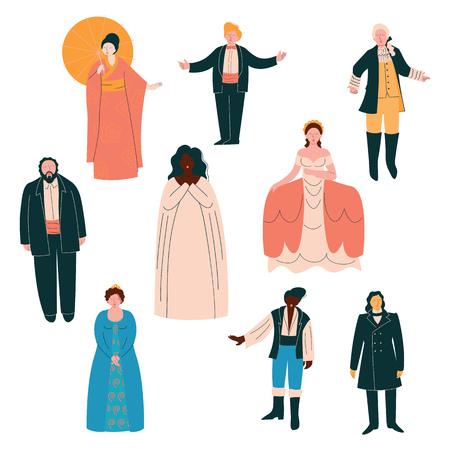 Ensemble de chanteurs d'opéra, chanteurs masculins et féminins dans des vêtements élégants sur scène Illustration vectorielle Vecteurs