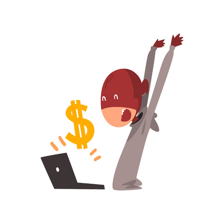 Hacker in Mask Stealing Money Using Laptop, Internet Crime, Computer Security Technology Cartoon Vector Illustration Illustration