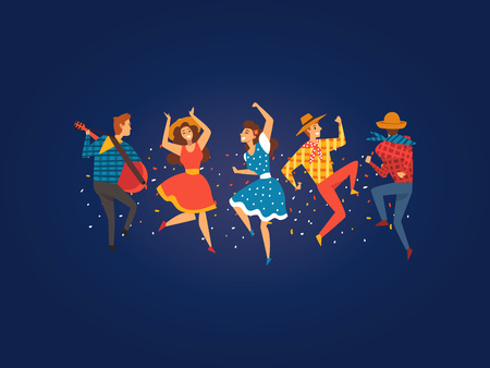 Festa Junina, Traditional Brazil June Festival, Happy People Dancing at Night Folklore Party Vector Illustration in Flat Style Çizim