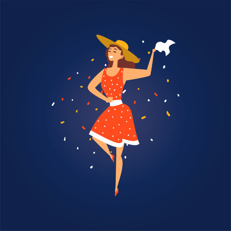Festa Junina Brazil June Festival, Smiling Young Woman in Cowboy Hat Dancing at Night Folklore Party Vector Illustration in Flat Style