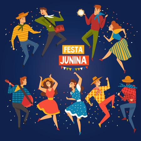 Festa Junina, Traditional Brazil June Festival Banner, Happy People Dancing at Night Folklore Party Vector Illustration