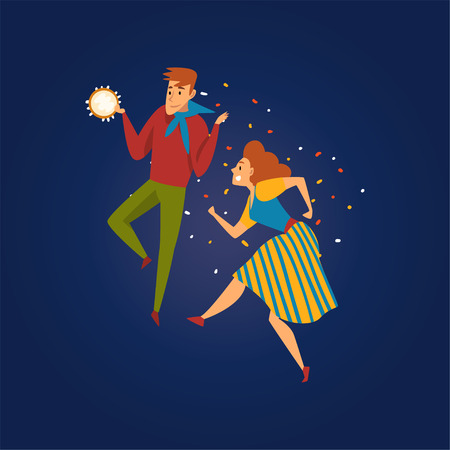 Festa Junina Traditional Brazil June Festival, Happy Couple Dancing at Folklore Party with Tambourine Vector Illustration in Flat Style