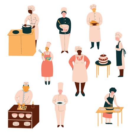 Cuochi in uniforme che preparano e servono i piatti, chef che cucinano nell'illustrazione di vettore della cucina del ristorante su priorità bassa bianca. Vettoriali