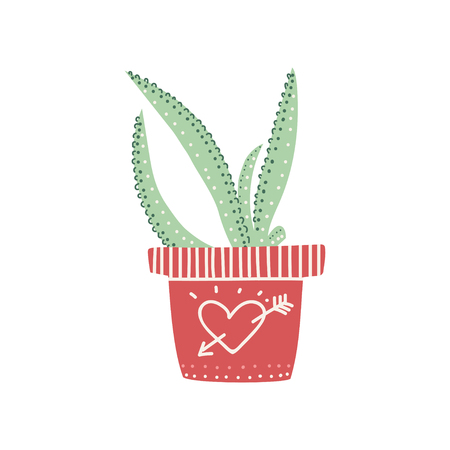 Aloe House Plant Growing in Pot, Design Element for Natural Home Interior Decoration Vector Illustration on White Background.