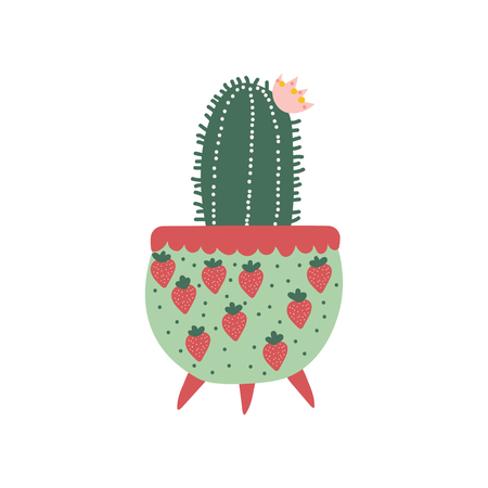 Blooming Cactus House Plant Growing in Cute Flowerpot, Design Element for Natural Home Interior Decoration Vector Illustration on White Background.
