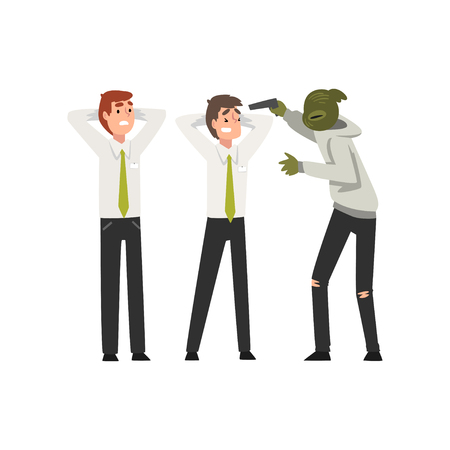 Bank Robbery, Masked Male Criminal Threatening Employees with Gun, Bank Robbery Vector Illustration on White Background. Illustration