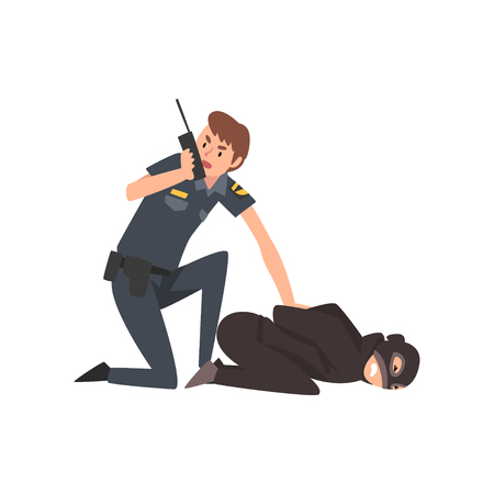 Policeman Caught Criminal, Police Officer Arrested Robber Vector Illustration on White Background. Çizim
