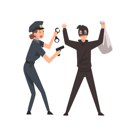 Armed Female Police Officer Arrested Bank Robber Vector Illustration on White Background. Stock Illustratie
