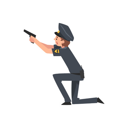 Policeman with Gun, Police Officer Arrested Criminal Vector Illustration on White Background. Illustration