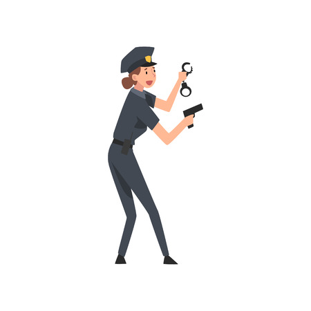 Police Woman with Gun and Handcuffs, Female Police Officer Arrested Criminal Vector Illustration on White Background.