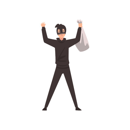 Robber Dressed in Black Clothes and Mask Standing with Raised Hands and Money Bag Vector Illustration on White Background.