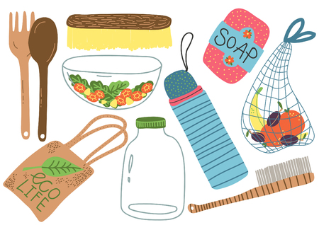 Zero Waste Set, Reusable Objects for Kitchen, Shopping, Eco lifestyle Products Vector Illustration