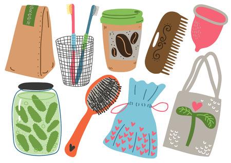 Zero Waste Set, Reusable Objects for Kitchen, Shopping, Personal Care, Eco lifestyle Products Vector Illustration Vektoros illusztráció