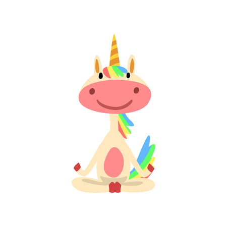 Funny Unicorn Sitting in Lotus Position, Fantasy Lovely Horse Character with Rainbow Mane and Tail Practicing Yoga Exercise Vector Illustration Foto de archivo - 118649662
