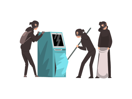 Group of Male Criminals in Masks Trying to Steal Money from ATM Vector Illustration on White Background.