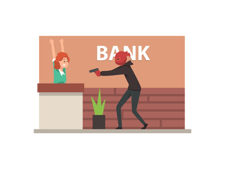 Bank Robbery, Armed Male Thief Threatening Employee Committing Burglary Vector Illustration in Flat Style.