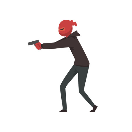 Robber or Burglar Dressed in Black Clothes and Mask Standing with Gun Vector Illustration on White Background.