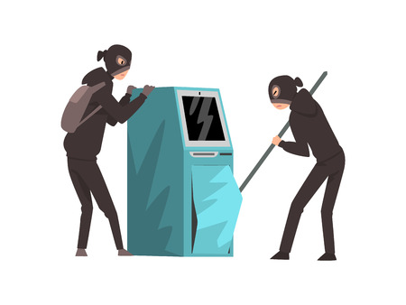 Male Burglars Dressed in Black Clothes and Masks Trying to Steal Money from ATM Vector Illustration on White Background.