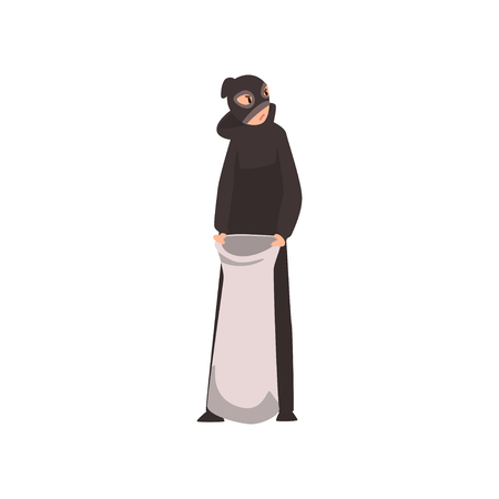 Robber Dressed in Black Clothes and Mask Standing with Money Bag Vector Illustration on White Background. Illustration